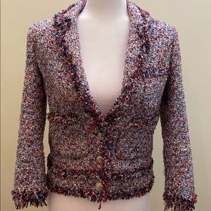 Zara frayed tweed button up blazer jacket cardigan